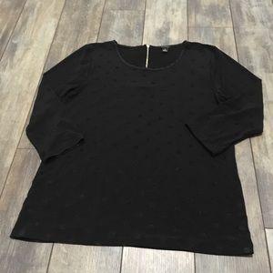 Ann Taylor black polka dot blouse size medium